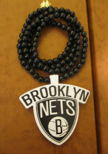 "BROOKLYN NETS ""B"",   34"" OR 28"" LONG BLACK CHAIN,GOOD WOOD, NECKLACE,"