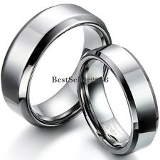 6mm/8mm Comfort Fit Polished Shiny Beveled-edge Tungsten Carbide Wedding Rings
