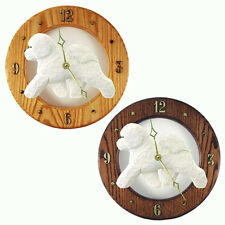 Bichon Frise Oak Wall Clock. In Home, Kitchen, Living Room or Den Products.