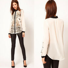 New Lapel Collar Leiothrix Chiffon Long Sleeve Women Shirt Tops Blouses T-Shirts