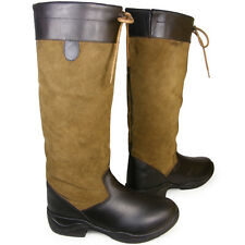ADULTS WATERPROOF HORSE RIDING YARD STABLE LONG LEATHER COUNTRY BOOTS SIZE 3-10