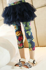 Boutique Vintage Floral Set-up Pants Fake 2Ps Leggings Tutu Skirt Ankle Length