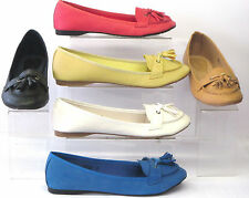 LADIES SPOT ON FLAT CASUAL SLIP ON SHOES WITH TASSEL LOAFERS F8721 SIX COLOURS