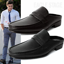 EagleStage New Mens Penny Loafer Leather Mules Open Back Slippers Designer Shoes