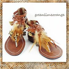 NEW WOMEN'S FEATHER POINT T-STRAP GLADIATOR FLATS SANDALS