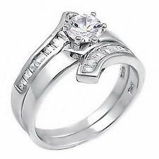 1.8ct Russian Ice CZ 2 pc Contemporary Flare Bridal Wedding Ring Set 925 Silver