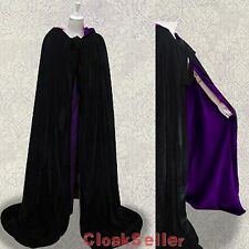 New Medieval Black Cape Outdoor Pagan Hooded Cloak Larp Sca Halloween SMLXLXXL
