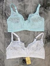 Pack of 2 non underwired bras in Aqua and white, 36-48 band, B C D cup