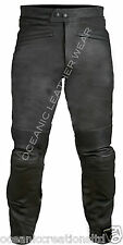 Black CE ARMOURED Motorbike Motorcyle 100% Genuine Real Leather Trousers Jeans