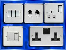 DIMMERS, LIGHT SWITCH, COOKER SWITCH, SOCKETS, FUSED SPURS, POLISHED OR BRUSHED