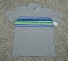 NWT $30-Mens Aces and Eights Gray Striped Front Short Sleeve Polo Shirt- M L XL