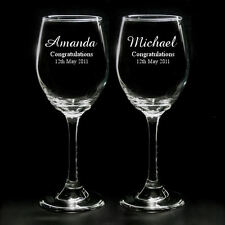 Personalised Premium Quality Pair Of Wine Glasses Engraved Wedding Gift With Box