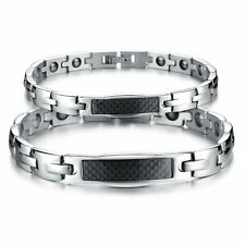 Black Ceramic Chain Link Therapy Power Magnetic Health Hematite Couples Bracelet