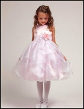 Pink & White Flower Girl Dress Wedding Pageant Girls Party Dress Satin & Organza