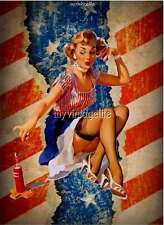 4th of July Pin-Up Free American Flag Patriotic Quilting Fabric Block