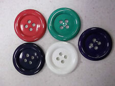 50mm -4 HOLE BUTTONS - PACK OF 2 - CHOICE OF COLOURS - FREE P&P