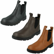 MENS TRUKA SLIP ON STEEL TOE CAP SAFETY BOOTS A3048 BLACK ,BROWN & TAN LEATHER