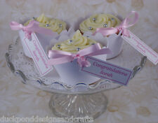 Cupcake wrappers with personalised tags & ribbon in packs of 50,75,100,125 &150