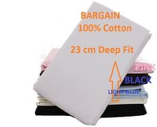 200 Thread Count 100% Egyptian Cotton Fitted Bed Sheet Single Double King Super