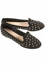 Topshop Black Flat Loafer VECTRA 4 BNWT 5 6 7 8 Studded Silver Spike Slipper