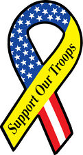 Set of 2 -  SUPPORT OUR TROOPS RIBBON DECAL SUPPORTS HOMES FOR OUR TROOPS