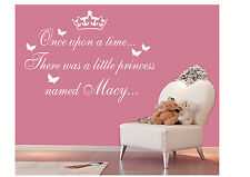 Personalised Once upon a time princess wall sticker, girls vinyl wall art