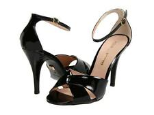Pour La Victoire Kalinda Black Soft Patent Sandal cross over stiletto peep toe