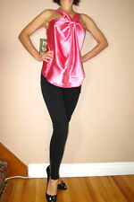 $149 Seven 7 For All Mankind Stretch Silk Sexy Flowy Halter Top Hot Pink M NWT