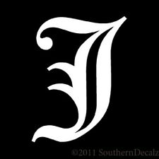 """Old English Font Initial Letter J - Decal Sticker - 24 Colors - 2.85"""" x 3.75"""""""