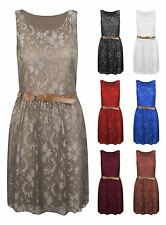 Womens Floral Lace Shift belted Ladies Short Skater Party Mini Dress Top UK 8-14