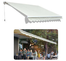 Outdoor 12'×10'patio deck Manual Retractable awning sun shade canopy shelter