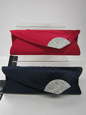 LADIES BULAGGI EVENING BAG FAUX SATIN WITH DIMONTE DETAIL, RED & BLUE 32344
