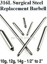 14g, 12g, 10g, 8g Steel Thread Post Replacement Barbell Tongue Ring, Industrial