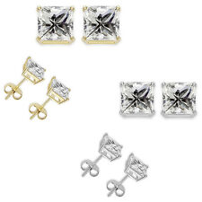 Princess Cut Square CZ Silver Stud Earrings White/Yellow Gold Plated 5,6,7,8 MM