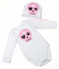 Halloween Baby Light Pink Skull Jumpsuit Romper Optional Long Sleeve NB-12Month