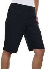 NEW (1373-1) Ladies Tailored Washable Linen Mix Shorts Navy Blue sizes 8-22