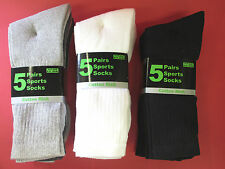 MENS MULTIPACK 5 SPORTS SOCKS BLACK, WHITE AND MIXED COTTON RICH SIZE 6-11