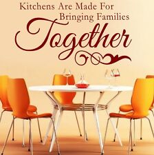 Kitchens are made for bringing Families** - Wall Quote Sticker - Art Decor