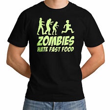 Zombies Hate Fast Food Funny Slogan Top Glowing Swag Dope Mens Women T-Shirt *g4