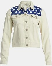 Topshop Moto American USA Flag Denim Cream Jacket  UK 12 Stripe Stars BNWT Crop