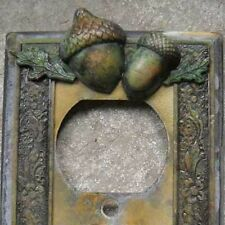 Hand Made VTG like Metal  Quad Patina SwitchPlate Acorn