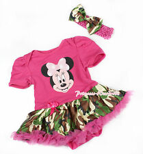 Hot Pink Bodysuit Pink Minnie Jumpsuit Camo Baby Girl Dress Skirt NB-12Month