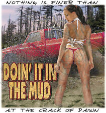 "Dixie American Trucks Southern Rebel "" DOIN' IT IN THE MUD "" T SHIRT 50/50"