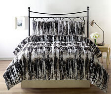 SILHUETT Down Alternative Comforter Set, BLACK, WHITE Twin, Queen, King Size