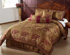 Hindu QUEEN Size Bed in a Bag 7pc Comforter Set Brown, Gold, Burgundy Bedding