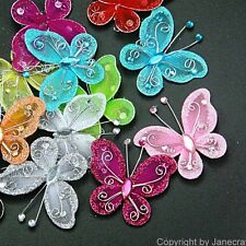 "100pcs 2"" Organza Wire Butterfly Appliques Craft Wedding Sew DIY Mixed 12 Colors"