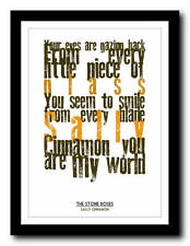 THE STONE ROSES - Sally Cinnamon - lyric poster art typography print - 4 sizes