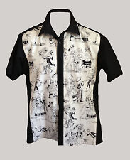 C-unique Mens Black White Skull Skeleton rockabilly 50s lounge diner shirt goth