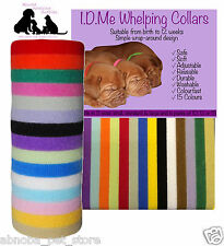 15 Colours Whelping Puppy Kitten I.D Collars Soft Velcro Adjustable Washable