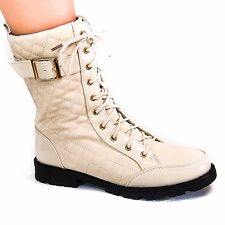 Finny06A Beige PU Womens Quilted Leatherette Combat Boot Lace Up Shoes New